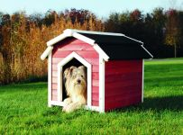 natura Hundehütte Country S–M: 71 × 69 × 75 cm, rot/weiß
