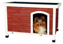 natura Flachdach-Hundehütte M: 85 × 58 × 60 cm, kastanienbraun/weiß